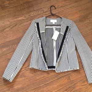 BOSS Komina Stripe Bouclé Black/White Suit Jacket